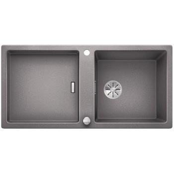 BLANCO ADON XL 6 S Silgranit PuraDur Alumetalik odwracalny, korek auto., InFino, deska jesionowa